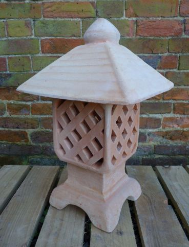 Hand Crafted Ceramic Terracotta Chinese Garden Lantern. 45cm tall