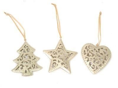 Set of 3 filagree decorations in gold.  Tree star and heart. 21.5 x 10.5 x 1.5