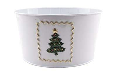 Enamel Christms planter with tree decoration