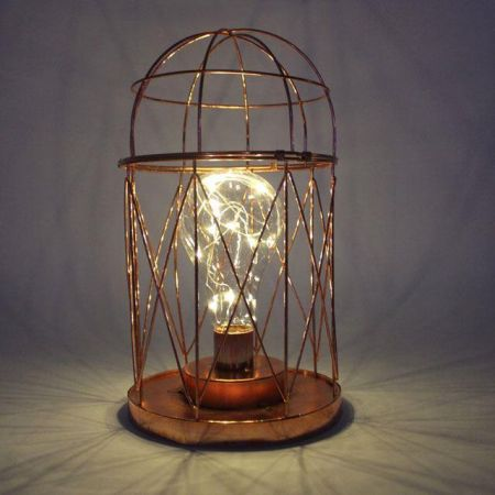 Copper Table Light.  Domed Design.  Battery Operated
