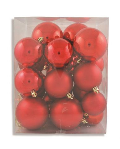 Outdoor Red Baubles Value Pack.  Contains 31 in  Matt and Gloss, 5, 6 & 7cm