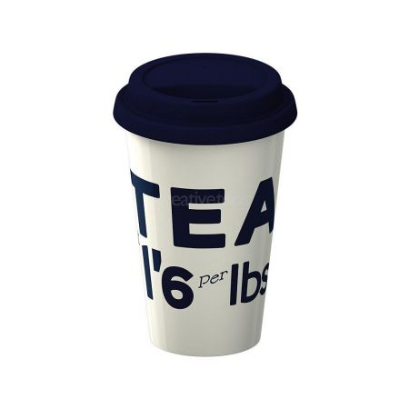 Porcelain Double Wall Tea Travel Mug with Silicone Lid.