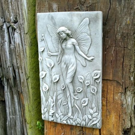 Lily Fairy Art Nouveau Wall Plaque Made from Reconstituted Stone.  26cm h cf7