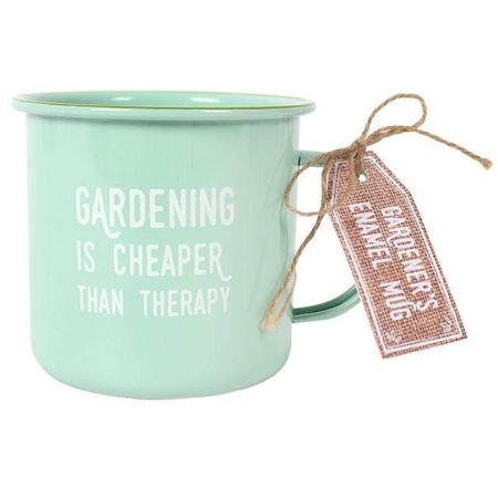 Gardening is Cheaper than Therapy Enamelled Mug