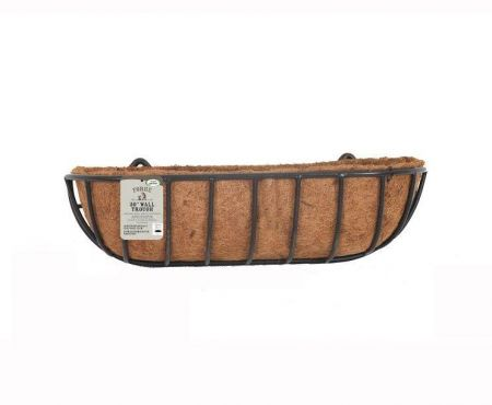 """Forge Wall Trough Planter with Coir Lining.  Classic Design.  30"""" wide"""