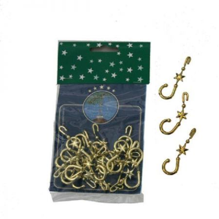 Christmas Tree Decoration Hooks / Hangers. 2 x Packs of 20 Gold Colour