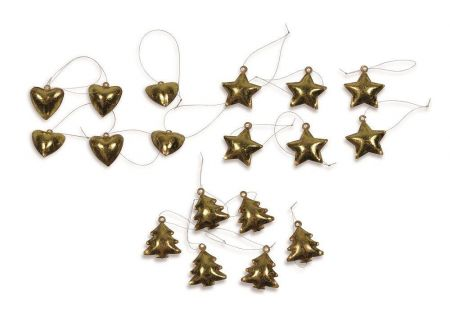 Set of 18 Vintage Gold Metal Christmas Tree Decorations.  Tree Heart & Star