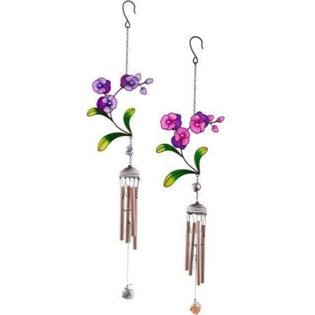 Glass Pansy Flower Windchime  in purple and pink