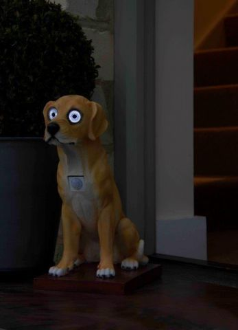 Dog Garden Ornament with Motion Detector PIR Activated LED Eyes. 40cm tall