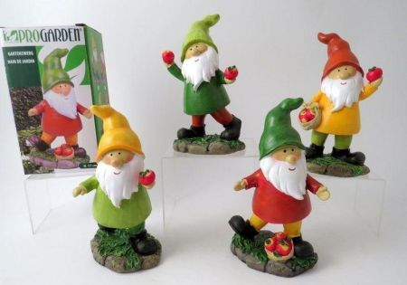 Gnome with Apples Garden Ornament, RED HAT