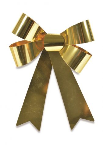 Outdoor Festive Foil Bow. Alternative for Wreath. 20 x 30cm.  Gold