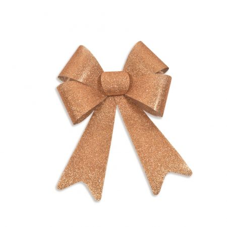 Copper Outdoor Glitter Bows x 1.  20 x 30cm