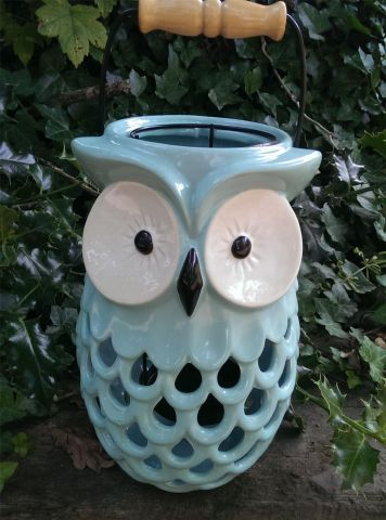 Gisela Graham Large Duck Egg Blue Ceramic Owl Lantern with Wooden Handle