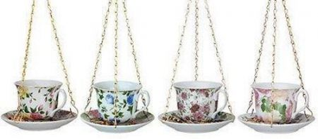 Teacup and Saucer Ceramic Wild Bird Feeder with Hanging Chain[Pink and peach]
