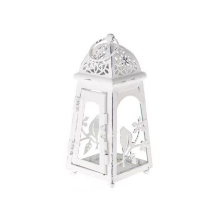 Lantern in Shabby White with Birds Decor 20cm tall