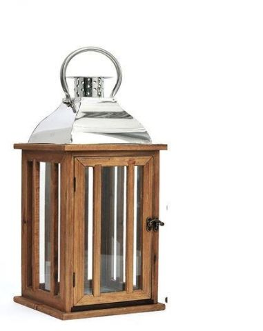 Heritage Lantern with wood and stainless steel.  Stylish lamp, small size