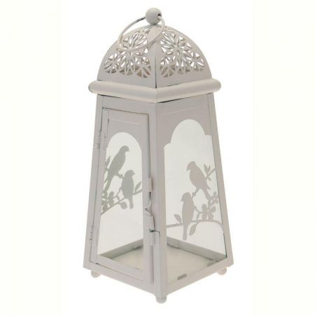 Lantern in Shabby White with Birds Decor 27.5cm tall