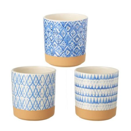 Set of 3 Blue and White Round Glazed Ceramic House Plant Pot Covers 12cm wide