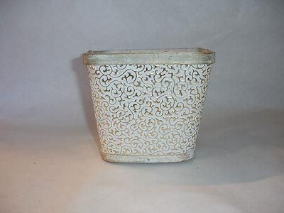 Shabby chic wooden damask white and gold square planter.  14cm square