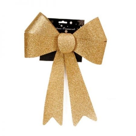 XL Outdoor Festive Glitter Bow. Alternative for Wreath. 28 x 36cm Gold