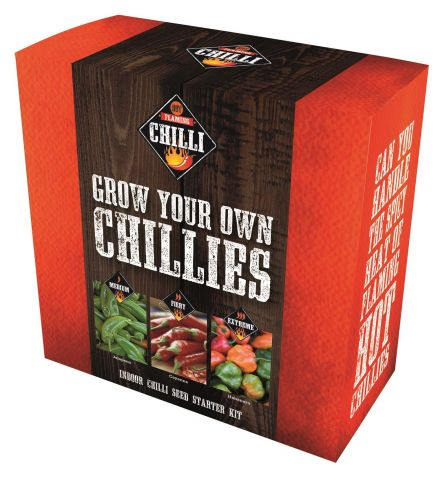 Chilli Growing Kit with Jalapeno Cayenne & Habanero Seeds