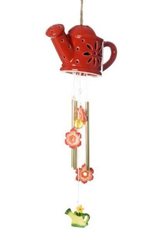 Ceramic Watering Can Winchime with Solar LED