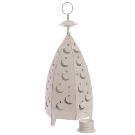 White Moroccan Style Lantern with Moon & Star Fretwork