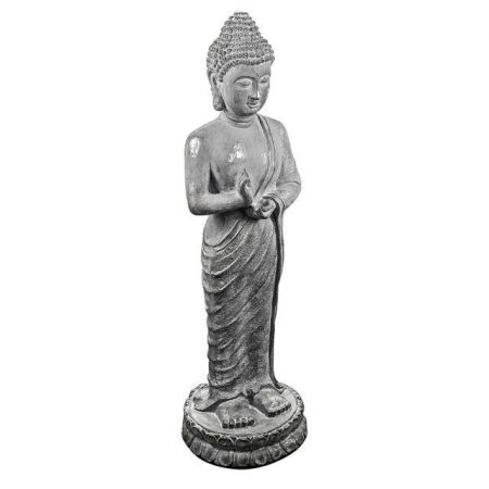 Standing Buddha Garden Statue with Antique Silver Finish Height 105cm