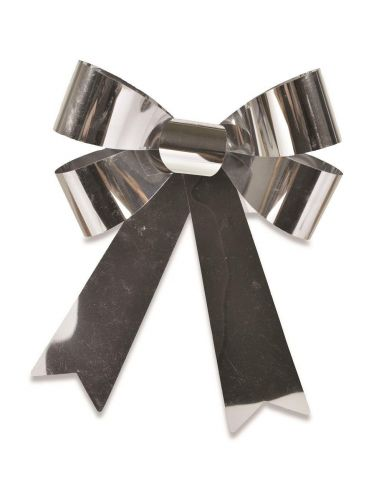 Outdoor Festive Foil Bow. Alternative for Wreath. 20 x 30cm.  Silver