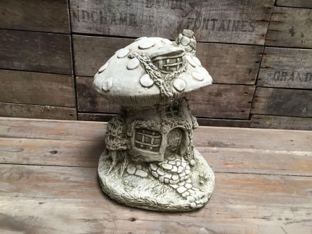 Mushroom Fairy House Statue Made from Reconstituted Stone