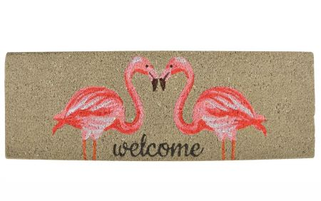 Flamingo Welcome Doormat Made from Coir with PVC Backing