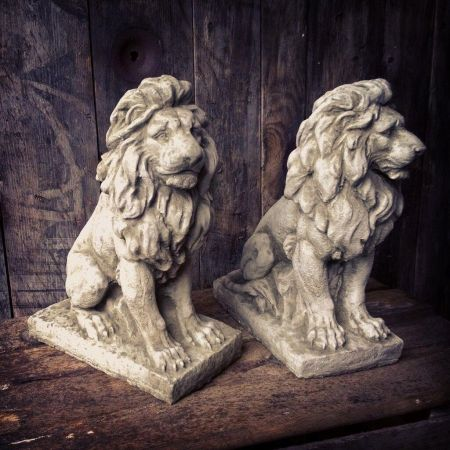 Pair of Lion Garden Ornament. Reconstituted stone