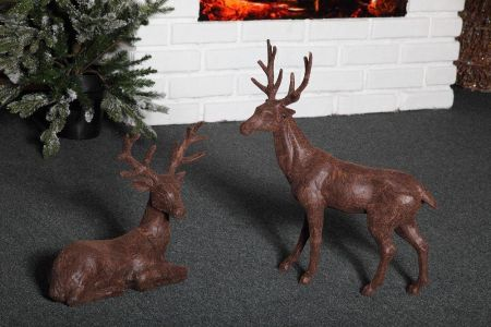 Faux Leather Standing Reindeer Christmas Ornament. 51cm tall