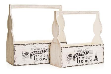 Set of 2 Wooden Decorative Bottle  Holder Planters