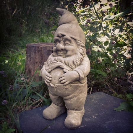 Jolly Gnome Garden Ornament made from Reconstituted Stone