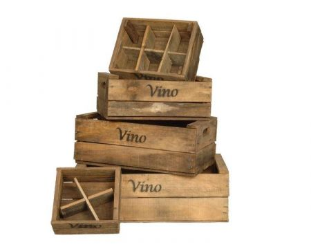 Wooden Wine Crates - Set of 5 with Inserts