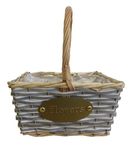 Rectangle willow and woodchip basket with hoop handle and gold flowers badge