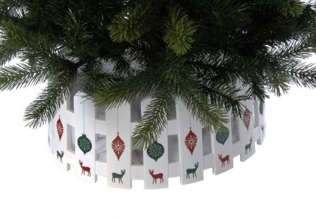 Festive Christmas Tree Skirt 54 x 22cm Picket Fence Style
