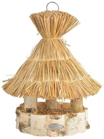 Quirky Silver Birch Hangning Bird Table with a Thatched Roof.