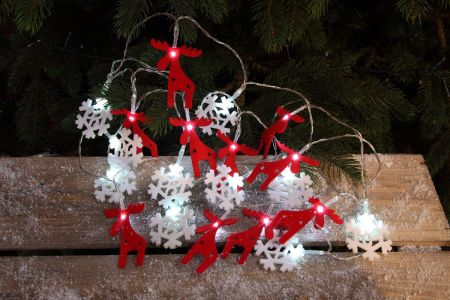 Felt Reindeer & Snowflake Light String with 20 LEDs.  Battery Operated with Timer