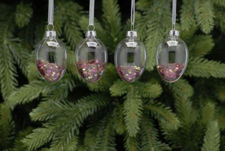 Clear Glass Drop Christmas Decorations filled with Sparkly Stars 4 Pack