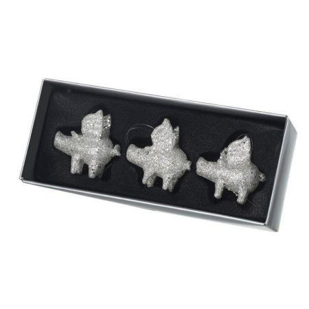 Glass Glitter Flying Pig Christmas Tree Decorations.  Set of 3
