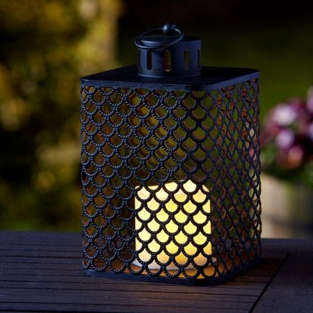 Moroccan Style Lantern with Battery Operated Flickering Candle