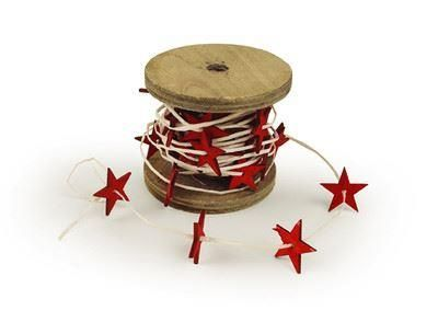 Christmas ribbon with painted wooden shaped on.  5 meters per reel.