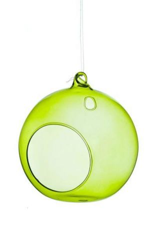 Glass Bauble Tealight Holder in green colour. 10cm