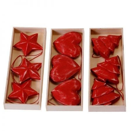 Tree Red Wooden Carved & Painted Christmas Tree Decorations / Hangers x 3