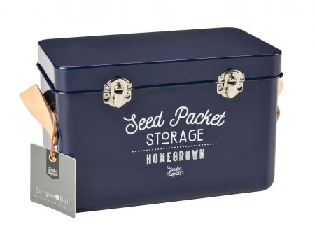 Leather Handled Seed Packet Storage Tin from Burgon & Ball BLUE colour