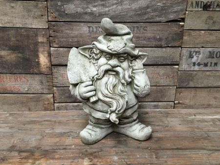 Gnome & Spade Garden Statue Made from Reconstituted Stone. GN14