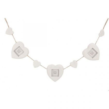 Contemporary White Painted Wood Heart Photo Frame Garland. 85cm