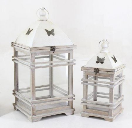 Set of 2 Metal Lanterns with Butterfly Detail.  56 & 40cm tall.
